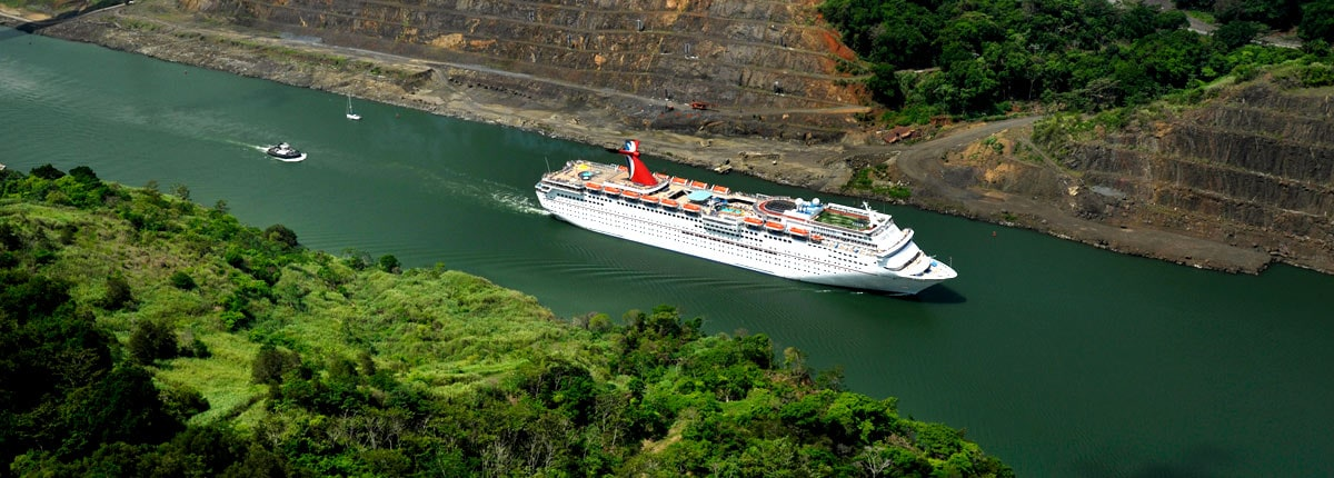 aerial view of a carnival cruise ship navigating the panama canal