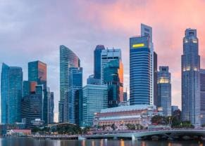 skyline at sunset in singapore