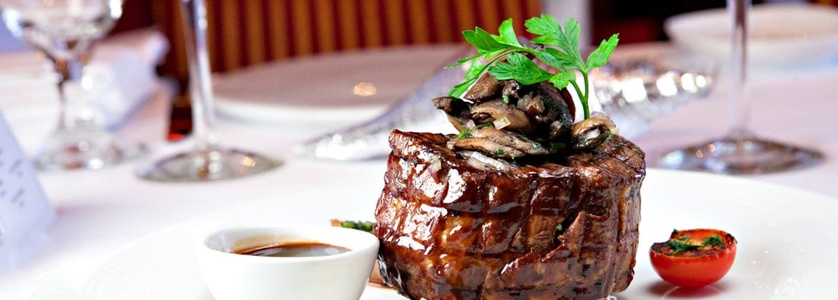 Steakhouse favorites in main dining room