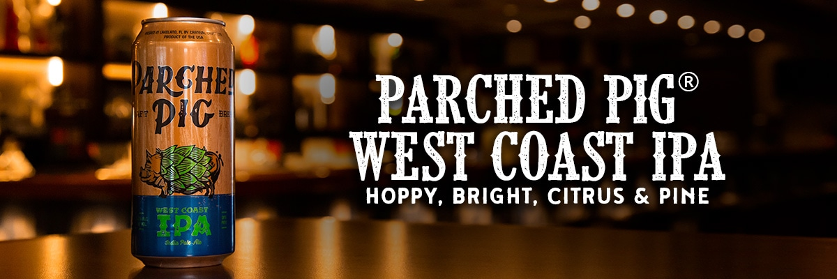parched pig west coast ipa beer with parched pig west coast ipa logo and words hoppy, bright, citrus and pine