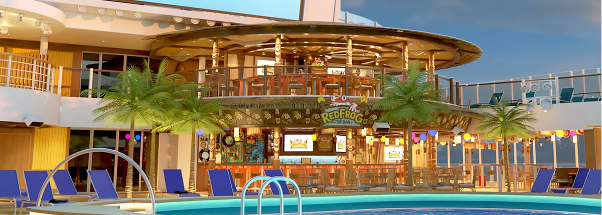 rendering of redrog tiki bar by pool