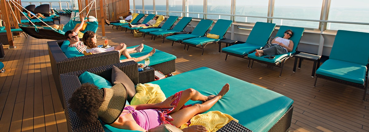 lounging in the sun on carnival cruise lines