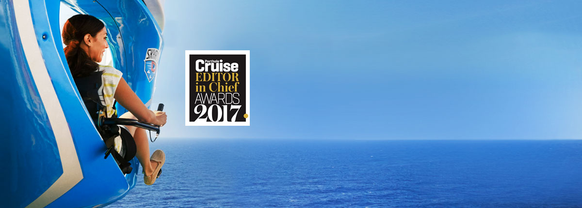 a woman riding SkyRide,  Porthole Cruise Magazine Editor in Chief Awards 2017 Logo
