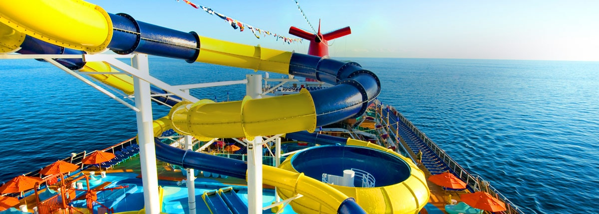 View of WaterWorks outdoor waterpark on Carnival Cruise Line.