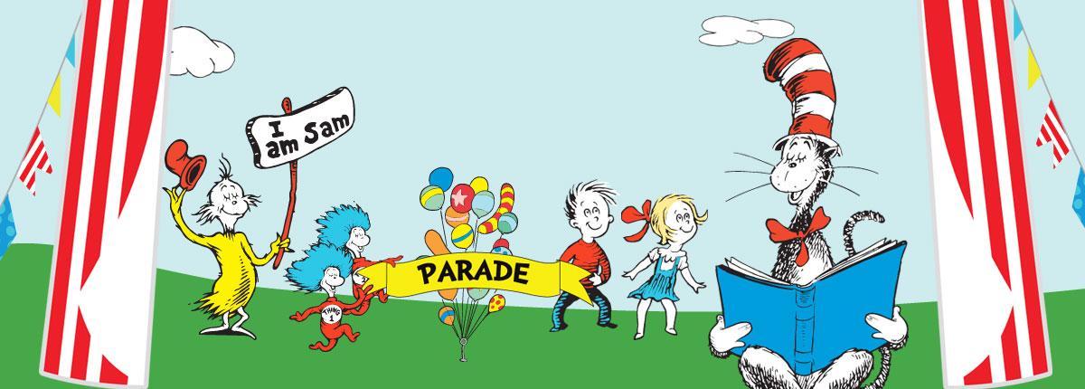 dr. seuss characters at the seuss-a-palooza parade