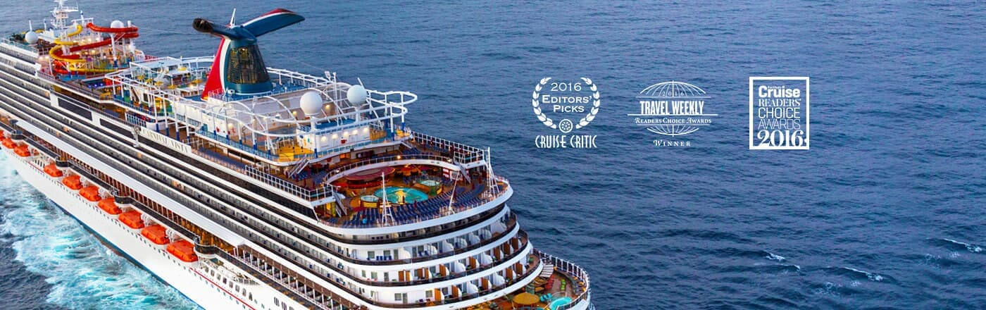 Carnival Cruise Line Ship with awards for Cruise Critic Travel Weekly and Porthole Cruise Choice Awards