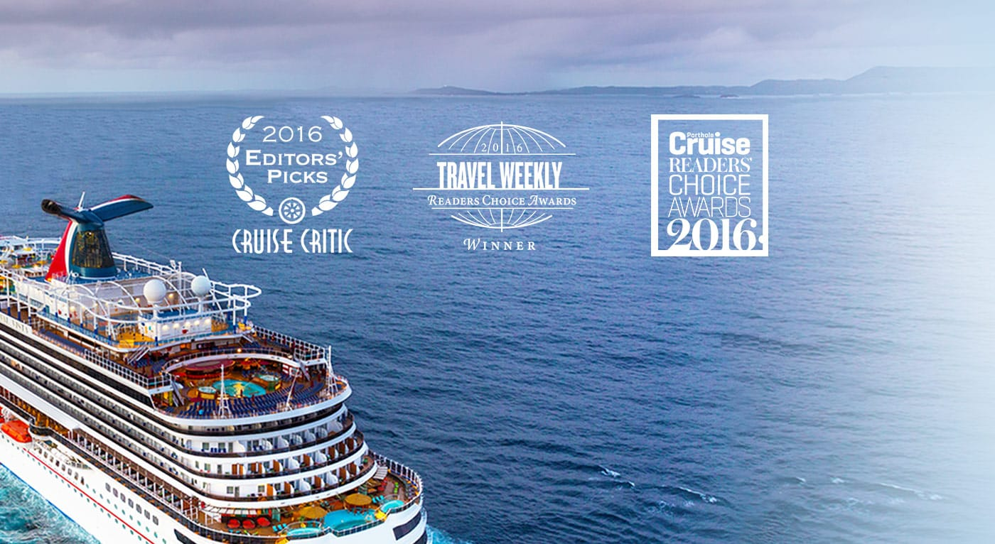 Carnival Cruise Line Ship with Award logos for Cruise Critic Travel Weekly and Porthole Cruise Readers Choice Awards